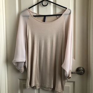 Top with mesh sleeves